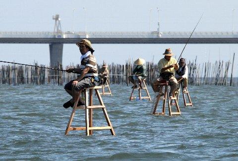 東京湾の『脚立釣り』再現